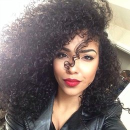 kinky curly wig middle part Australia - Soft Virgin Human Hair Lace Front Wigs Pre Plucked Unprocessed Brazilian Afro Kinky Curly Glueless Lace Wig Middle Part For Black Women