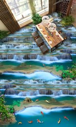 kitchen chinese Australia - 3D floor kitchen custom creative 3d floor running water self adhesive non-slip waterproof for floor wallpaper