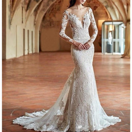 $enCountryForm.capitalKeyWord Australia - 2019 vintage white lace mermaid wedding dresses sweep train long sleeves lace bridal dress custom backless plus size wedding gowns