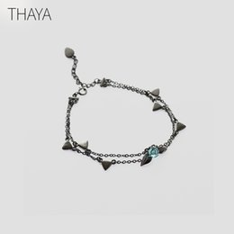 Plastic Thorns Australia - Thaya 100% 925 Silver Thorns Rose Bracelet Two Layer Crystal Flower Black Chain Link Bracelet For Women Jewelry Korea Style Gift Y19051602