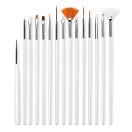 Wholesale 20pcs Nail Art Design pen Brushes Set Dotting Painting Drawing Polish Pen Tools Kit with leather bag R0082