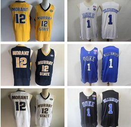 $enCountryForm.capitalKeyWord Australia - NCAA #1 Zion Williamson Duke Blue Devils #12 Ja Morant Murray State College Basketball Jersey White Blue Black Stitched patches embroidered