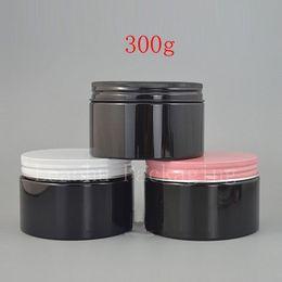 Wholesale oz plastic jars online shopping - 300g X Empty Black PET Cosmetic Cream Tin Aluminum Screw Cap OZ Solid Perfumes Refillable Jars Powder Bottle Balm Pot