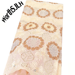 white swiss cotton voile fabric Australia - WorthSJLH African Lace Fabric 2019 Cream White Cotton Lace Fabric With Stones High Quality Dry Swiss Voile Lace In Switzerland For Men