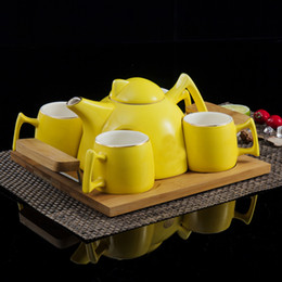 $enCountryForm.capitalKeyWord Australia - Home Kitchen Decoration Accessories Colorful Ceramic Coffee Set Cups and Coffeepot Teapots Tea Cup Set With Holder