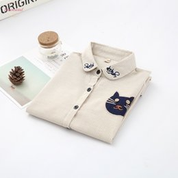 cats blouse Canada - 2020 Autumn Women Shirts Blouses Embroidery Cat Long Sleeve Shirt Striped Camisas Femininas Fashion Office Work Wear Ladies Tops