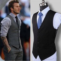 fashion designing wedding dresses Australia - New Wedding Dress High-quality Goods Cotton Men's Fashion Design Suit Vest   Grey Black High-end Men's Business Casual Suit Vest