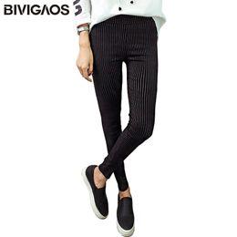 Xl Womens Leggings Australia - Bivigaos New Womens Vertical Stripes Slim Pencil Pants Skinny High Waist Pants Elastic Woven Leggings Trousers Women Black White Q190510