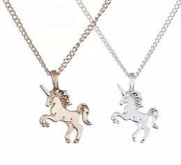 $enCountryForm.capitalKeyWord Australia - Fashion Necklace Jewelry Unicorn Pendant Necklace Short Women Clavicle Chain Gold Silver Animal Necklace Alloy Pendants With Gift Card B358