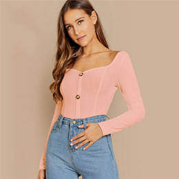 $enCountryForm.capitalKeyWord Australia - Pink Green Button Front Rib-knit Form Fitting Tee Female Long Sleeve Crop Top 2019 Elegant T-shirt Women Tops And Tees