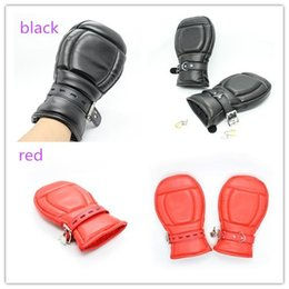 $enCountryForm.capitalKeyWord NZ - Padded fist gloves, PU leather down jacket, slave gloves, protective gloves, adult sex toys, black red to choose from