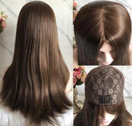 long straight dark brown wigs Australia - Kosher Wigs 10A Grade Light Brown Color #6 Finest Mongolian Virgin Remy Human Hair Straight 4x4 Silk Base Jewish Wig Fast Free Shipping