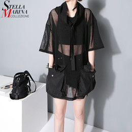 Black See Through Tee Australia - 2018 Japanese Style Summer Women See Through Mesh Tee Top 1 2 Sleeve Oversized Black T Shirt Femme Hipster Harajuku T-shirt 1549 Y19042501
