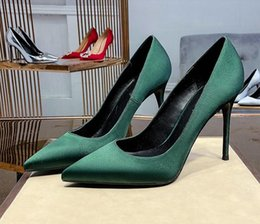 bronze satin shoes NZ - With box High heels shoes Woman blackish green Pumps Dress Shoes Slip-On Celebrity high heels solid Pointed Toes sexy Stiletto Party Shoes