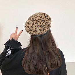 ladies warm hats 2019 - Autumn Winter Women's Leopard Retro Woolen Fashion Caps Elegant Ladies Literary Japanese Keep Warm Cap Hat Chapeau