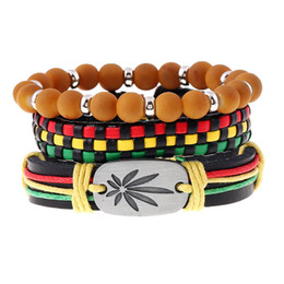 Discount yellow leather bracelet for men - 20 styles Boho Gypsy Hippie Punk Dark Brown Leather Maple Leaf Charm Wooden Bead Yellow Cord Wrap Red Beads Bracelets Se