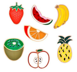 Discount red kiwi fruit Pin Brooches Fruits Banana,Kiwi, Apple, Pineapple Lapel Hat Bags Backpacks Pin Tie Tack Enamel Lapel Jewelry Brooch Pins