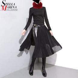 1516a2189de4 women wearing sexy leather dress 2019 - 2019 Korean Style Women Black  Pleated Chiffon Skirt Leather