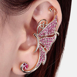 af80c4285 Retro Vintage Gothic Rock Punk Butterfly Shape Ear Cuff Earring Pink Crystal  Party Earrings for Women Gift