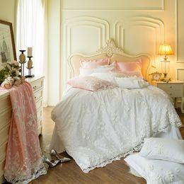 Luxury Egyptian Cotton Australia - White lace Egyptian Cotton Luxury Wedding Princess Bedding set Soft Bedclothes 4 7Pcs Queen King size Duvet cover Bed sheet set