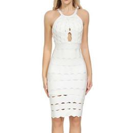Clubwear wedding dress online shopping - 2019 New Elegant Fashion Women Bandage Dresses black white jacquard spaghetti strap O Neck wedding evening Clubwear dresses summer dress