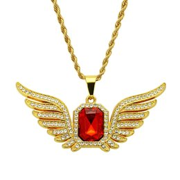 necklaces pendants Australia - Hip Hop Designer Necklaces Vintage Angel Wings Mens Necklace Red Crystal Luxury Necklace Fashion Rhinestone Iced out Pendant Jewelry