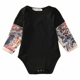 tattoo clothes Canada - Free Shipping Summer cotton Newborn Baby Boy Bodysuit Clothes Tattoos Print Long Sleeve Bodysuit Jumpsuit Outfits Black Gray