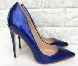 $enCountryForm.capitalKeyWord Australia - Royal Blue Patent leather Cusp Fine heel Women's high heel shoes 8cm 10cm 12cm Big code 44 Banquet Nightclub dress wedding Red bottom shoes