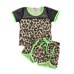 baby leopard print t shirt NZ - Kids Baby Girl Summer Casual Leopard Printed O-Neck Short Sleeve T-Shirt Mesh Pants 2pc Sports Sets 0-5Y