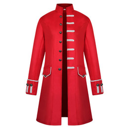 Mens gothic long coat online shopping - Vintage Mens Frock Coat Stand Collar Gothic Trench Coat Trim Steampunk Men Cardigans Long Sleeve Overcoat Gothic Brocade Jacket
