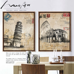 big ben paintings 2019 - Retro vintage poster London Italy Rome Big Ben Notre Dame Cathedral 4 piece canvas painting prints pictures for living r