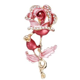 EnamEl flowEr broochEs online shopping - MM Enamel Alloy Oil Drop Rose Flower brooch Pins Ornament Accessories Gold Tone Alloy Floral Breastpins