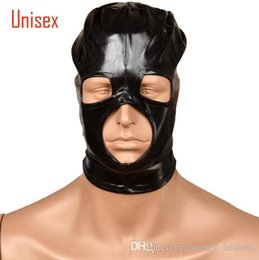 Eye Toy Play Australia - Black BDSM Sex head masks hood slave mask sm player open eye men adult products for couples lingerie role play Flirting Sex toys