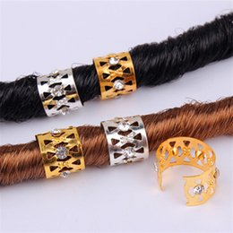 gold hair beads Australia - New Gold Silver Rhinestone Hair Dread Braids Dreadlock Beads Adjustable Braid Cuffs Clip Heart Shape Hair Extension Tool Hair Ring KKA7901