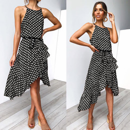 Night Clubs Clothes NZ - Summer Halter Polka Dot Dresses Sexy Female Night Club Mini Dress Panelled Ruffle Party Clothing