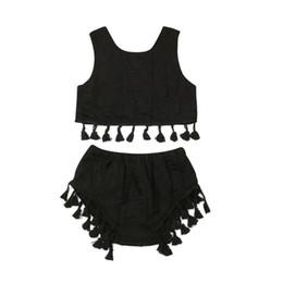 Girls Winter Short Pants UK - 1-7Y Toddler Kid Baby Girl Tassel Clothes Sets Black Sleeveless Crop Top Short Pants Outfit Set