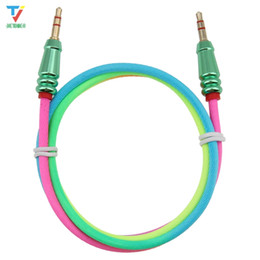 $enCountryForm.capitalKeyWord UK - 3.5Jack Audio Cable Male to Male Rainbow Round Bullet Cloth Audio Aux Cable For iPhone Car Headphone Speaker Wire Line Aux Cord 50pcs lot