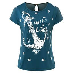 Ladies Clothes Boats NZ - 2019 Summer Women T shirt ladies short Sleeve women Boat anchor Top Tee Casual Female plus size Women Clothing Drop Shipping