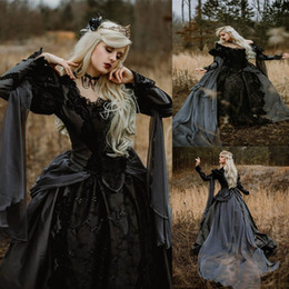 medieval dress ball Australia - New Ball Gown Medieval Gothic Wedding Dresses Silver and Black Renaissance Fantasy Victorian Vampires Long Sleeve Bridal Gown