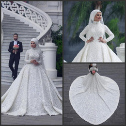 fcd20e6355 MusliM wedding dresses gold online shopping - High Neck Long Sleeve Arabic  Hijab Muslim Wedding Dresses