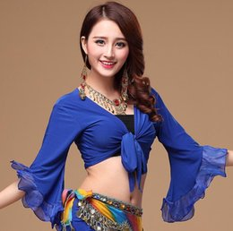 pink belly dancing costumes NZ - Women's Flair Wrap Tie Top Choli Blouse Belly Dance Gypsy Costume Butterfly Sleeve Royal Blue Red Pink Purple Free Shipping