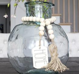 Toptan satış Püsküller ve DIY Etiketi Çevre Dostu Doğal El Yapımı Kuzey Avrupa Stil Evi Dekorasyon ile Ahşap Boncuk Garland