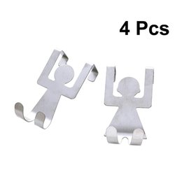 door clothes hook NZ - 4Pc Clothes Door Back Hooks Stainless Steel Coat Hanging Hanger Portative Back Hooks for Coat Key Towel Bag Organizer