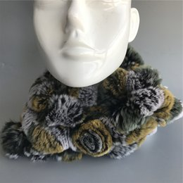 Womens Winter Fur Scarves Australia - Yellow Womens Real Rex Rabbit Fur soft Scarves W Flower Winter Warm Scarf Neck Warmer