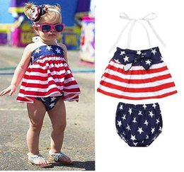 Girls Tassel Shirt Australia - INS Designer Baby Girls Star Stripe Suits for USA The Fourth of July Kids National Day Wear Kids Special Occasion Clothes