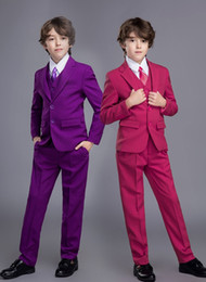 kids purple suit NZ - 3 Pieces Child Suits Wedding Boy Suits Jacket Pant Vest kid Formal Dress School Student Party Costumes (Jacket+Pants+Vest+Bow )