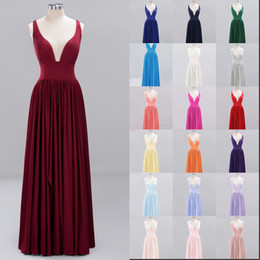 wedding colors silver coral 2019 - 34 Colors Cheap Bridesmaids Dresses For Summer Weddings Chiffon A Line V Neck Pleats Long Wedding Guest Party Gowns Cust