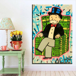 "painted art chairs Australia - Alec Monopoly Graffiti Handcraft Oil Painting on Canvas,""Money Chair"" home decor wall art painting,24*36inch stretched"
