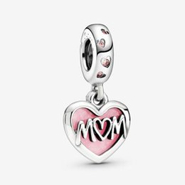 silver mum bracelet UK - 2020 Mother's Day 925 Sterling Silver Mum Script Heart Dangle Charm Bead Fit European Pandora Charm Bracelet & Necklace