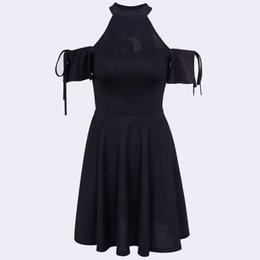 Girls Lace Dress Shoulder Hollow Out Australia - wholesale Halter Summer Dress Women Mini Pleated Off Shoulder Black Moon Hollow Lace Up Slim Goth Girl Clubwear Sexy Short